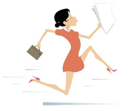 Running businesswoman isolated illustration. Young woman with bag and papers runs for business Illustration
