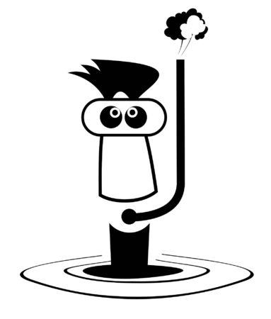Funny diver illustration. Cartoon man in diving mask black on white