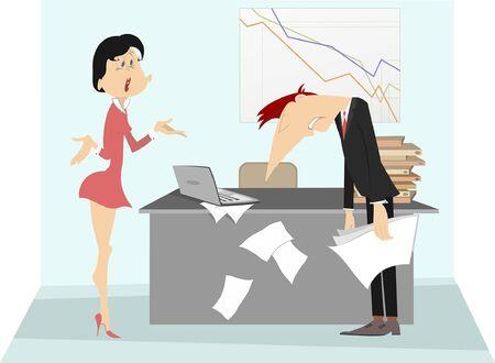 Angry boss woman and employee man illustration. Angry chief woman scolds sad employee man  イラスト・ベクター素材