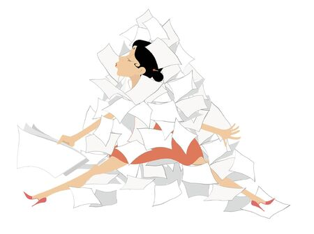 Businesswoman and a pile of papers or documents illustration. Young woman sits in the big pile of papers or documents isolated on white