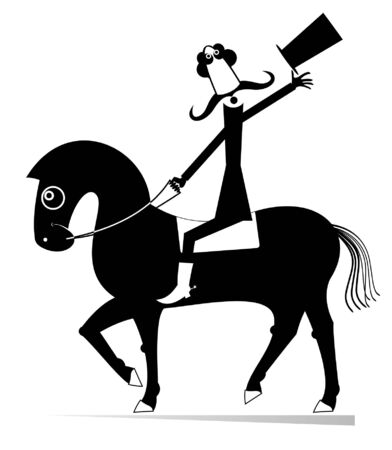 Mustache man in the top hat rides on the horse illustration. Cartoon long mustache man in the top hat rides on the horse black on white
