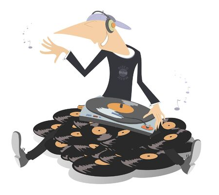 Cartoon funny DJ on the big pile of vinyl records illustration. Man with record player and headphones sits on the big pile of long playing records illustration