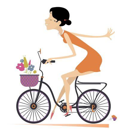 Hübsche junge Frau reitet eine Fahrradillustration. Junge Frau der Karikatur mit Blumen fährt Fahrrad und sieht gesund und glücklich aus, isoliert auf weißer Illustration