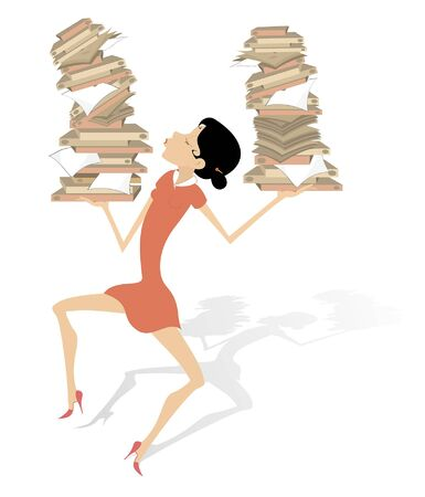 Woman and piles of papers or books illustration. Smiling woman holds big piles of papers or books in both hands isolated on white Banco de Imagens - 129733536
