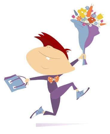Running boy with a bouquet of flowers and a school bag cartoon illustration. Smiling teenager holds a big bouquet of flowers and a bag hurries to school or a university isolated on white illustration