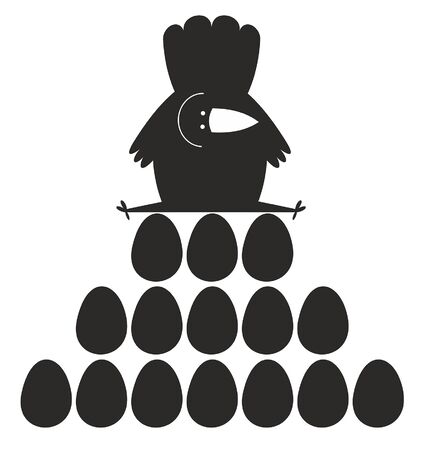 Hen sits on the eggs illustration. Cartoon hen sits on the eggs black on white illustration