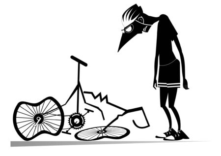 Cyclist and a broken bike isolated illustration. Sad cyclist standing near a broken bike with downcast head and hands black on white illustration