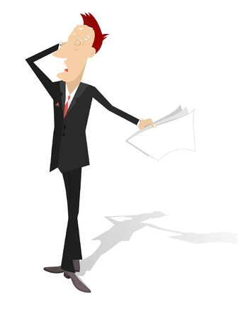 Upset and tired man isolated illustration.  Upset and tired man holds papers and puts hand on the head isolated on white