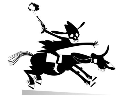 Skull headed man with a gun rides on the horse illustration.  Man with skull head with a gun rides on the horse with skull head black on white