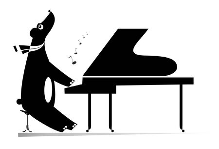 Funny bear a pianist isolated illustration.  Cartoon bear is playing music on piano and singing black on white illustration