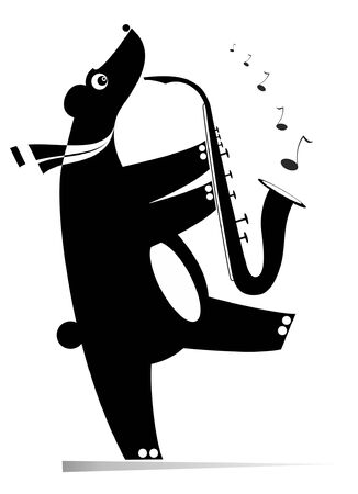 Funny bear a saxophonist isolated illustration. Cartoon bear is playing music on saxophone with inspiration black on white