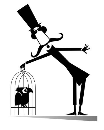 Mustache man in the top hat holds a cage with a bird isolated illustration. Cartoon long mustache man in the top hat holds a cage with parrot black on white illustration Banco de Imagens - 129733554