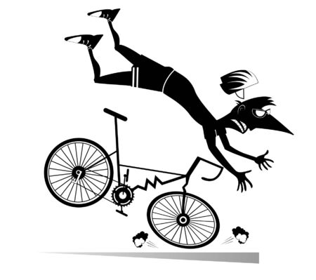 Cyclist falling down from the bicycle isolated illustration. Cyclist falling down from the broken bicycle black on white illustration Illustration