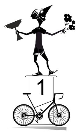 Cyclist, podium of the winner and bike illustration. Cheerful cyclist stands on the podium and holds a winner cup and flowers black on white illustration