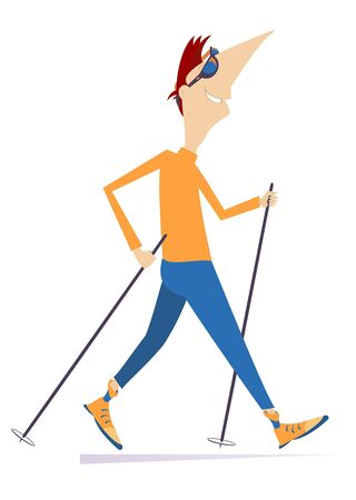Cheerful man doing Nordic walk illustration. Man in orange long sleeve and blue pants doing Nordic walk outdoors isolated