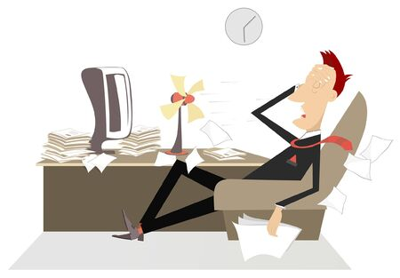 Upset and tired businessman in the office illustration. Man in the office sits in the armchair in front of the tabletop fan and puts hand on the head