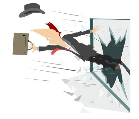 Man flies out the broken window illustration. Man with hat and bag flies out the broken window isolated on white