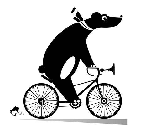 L'ours drôle monte une illustration de vélo. L'ours de bande dessinée monte une bicyclette noire sur l'illustration blanche