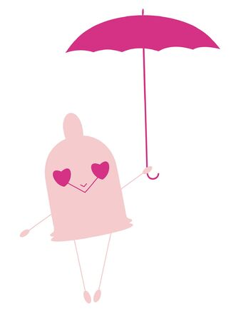Funny little condom holds umbrella illustration.  Smiling pink little condom holds umbrella isolated on white
