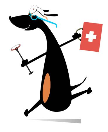 Smiling dog runs to render the medical aid illustration. Cartoon hurry dachshund a doctor with a doctor bag and endoscope isolated on white Illustration