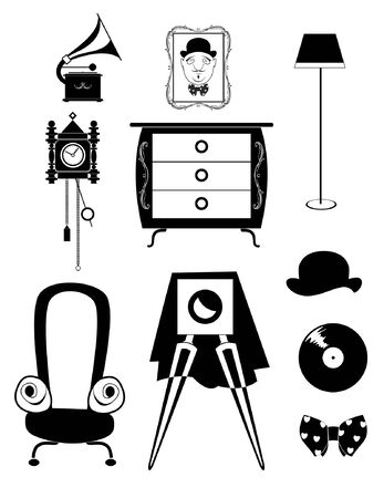 Vintage retro old things illustration set. Vintage retro old things for design black on white Illustration