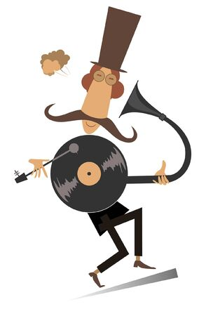 Man and retro record player illustration. Funny mustache man in the top hat is listening to music by vintage record player isolated on white Stock Illustratie