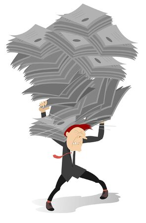 Man holds on the back big piles of papers illustration. Tired businessman carries big piles of papers on his back isolated on white