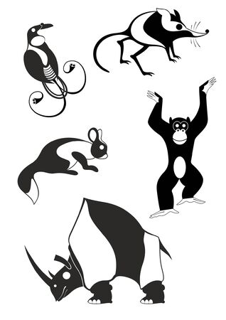 Animal art silhouettes black on white illustration.  Decor animal silhouette collection for design