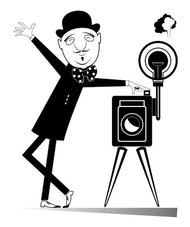 Elegant retro photographer with camera illustration. Cartoon smiling photographer in the bowler hat requests attention and photographs black on white