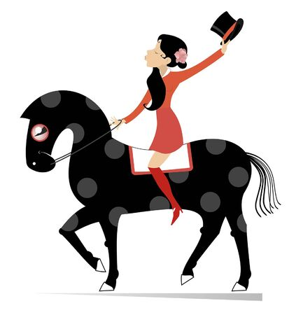 Attractive young woman rides on the horse illustration. Attractive young woman with a top hat in the hand rides on the horse isolated on white