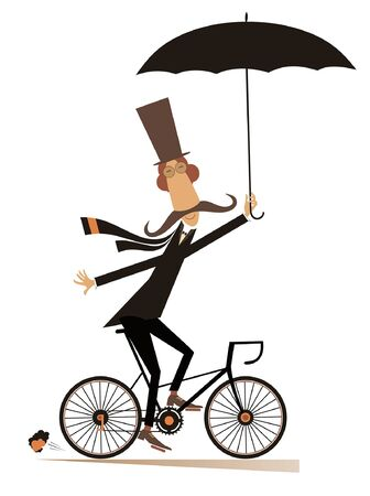Cartoon long mustache man in the top hat with umbrella rides on the bicycle and looks healthy and happy isolated on white illustration