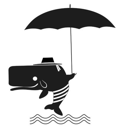 Funny whale in the hat with umbrella illustration. Funny whale in the hat with umbrella is under the water waves black on white Stock Illustratie