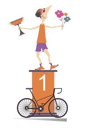 Cyclist, podium of the winner and bike illustration. Cheerful cyclist stands on the podium and holds a winner cup and flowers isolated on white illustration