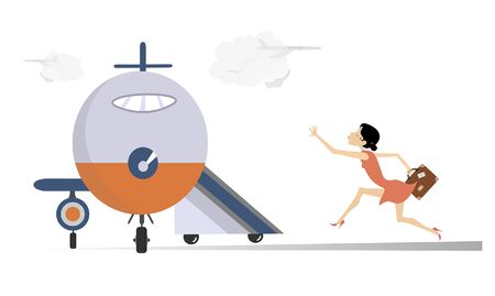 Young woman in the airport illustration. Scurrying young woman with suitcase trying does not miss the flight isolated on white