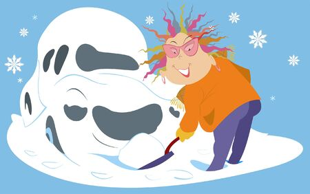 Snowdrift, woman with a spade and a car illustration.  Smiling woman dig out the car from the snow by spade