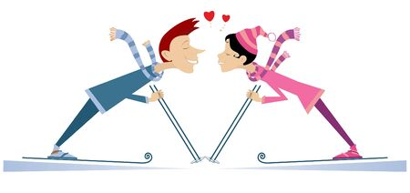 Heart symbols and kissing skier man and skier woman illustration. Skier man and skier woman fall in love and kissing isolated on white