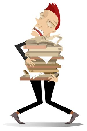 Tired man holds piles of papers or books illustration. Tired man holds big piles of papers or books in both hands isolated on white