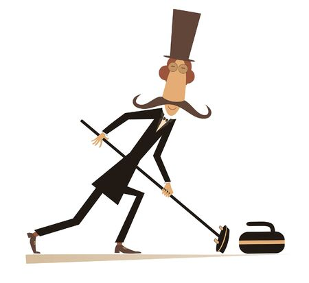 Mustache man in the top hat plays curling isolated illustration. Mustache gentleman in the top hat with curling brush pushes a stone towards the target isolated on white illustration