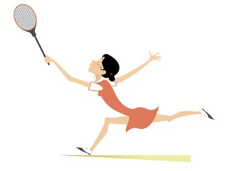 Pretty young woman playing tennis isolated illustration. Young woman with a tennis racket beats a ball isolated on white