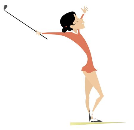 Golfer woman on the golf course illustration. Smiling golfer woman is happy about a good kick isolated on white Stock Illustratie