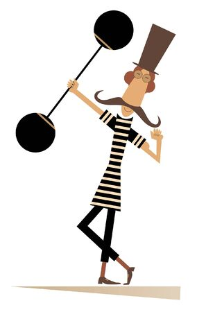 Strong long mustache weightlifter in the top hat illustration. Man dressed in striped athletic tights raises the heavy weight and shows his muscles isolated on white Иллюстрация