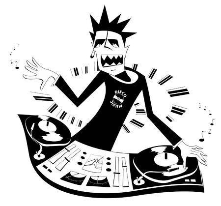 Cartoon funny DJ illustration. DJ performing music on the control panel black on white illustration