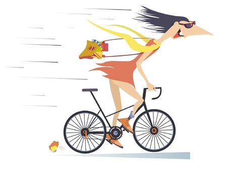 Funny young woman rides fast on the bike illustration. Smiling cartoon young woman with long hair and a bag on the shoulder rides fast on the bicycle isolated on white illustration