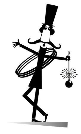 Funny long mustache chimney sweeper illustration. Mustache chimney sweeper in the top hat with the rope and chimney brush black on white