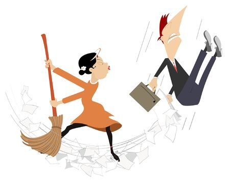 Cartoon woman tidying up the office with the man illustration. Cartoon woman sweeps papers and the man using a big broom isolated on white Illustration