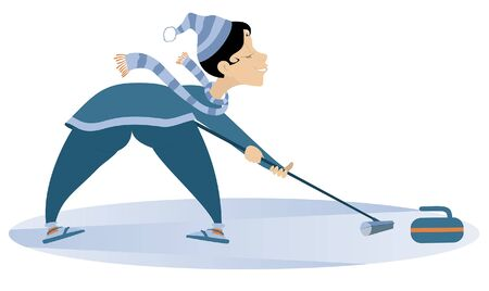 Smiling young woman plays curling isolated illustration. Young woman with curling brush pushes a stone towards a target isolated on white illustration Stock Illustratie