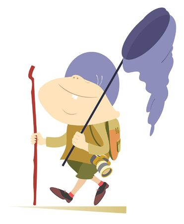 Hiking boy, rucksack, walking stick and butterfly net illustration. Hiking cheerful boy with rucksack and walking stick goes on travel isolated on white illustration Stock Illustratie