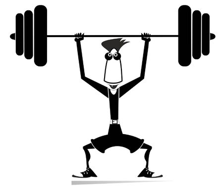 Cartoon man weightlifter isolated illustration. Cartoon athlete trying to lift a heavy weight black on white