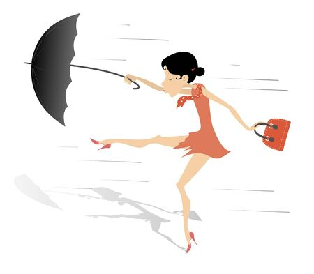 Strong wind, rain and woman with umbrella illustration. Young woman with umbrella and fancy bag stands on the strong wind isolated on white illustration