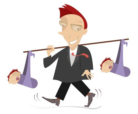 Father and two babies fun illustration. Smiling young man carries two babies with pacifiers in the mouth knotted to the stick isolated on white